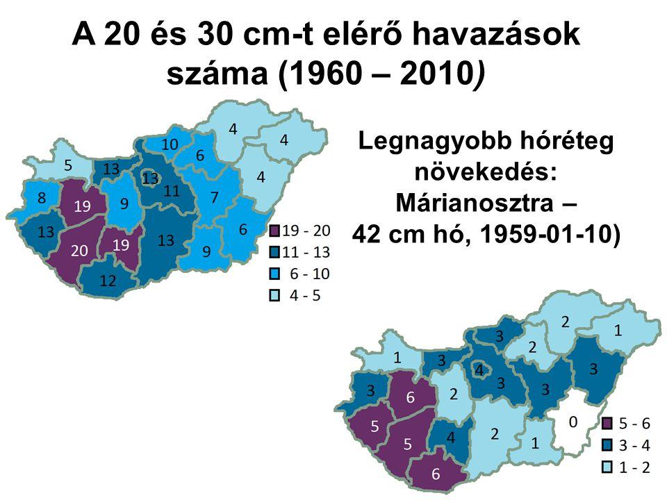 A 20 és 30 cm-t elérő havazások száma (1960 – 2010) Legnagyobb hóréteg növekedés: Márianosztra – 42 cm hó, 1959-01-10) Forrás: Déry B., 2011