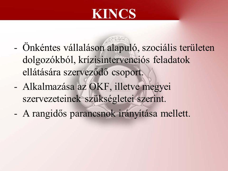 KINCS -Önkéntes vállaláson alapuló, szociális területen dolgozókból, krízisintervenciós feladatok ellátására szerveződő csoport. -Alkalmazása az OKF,