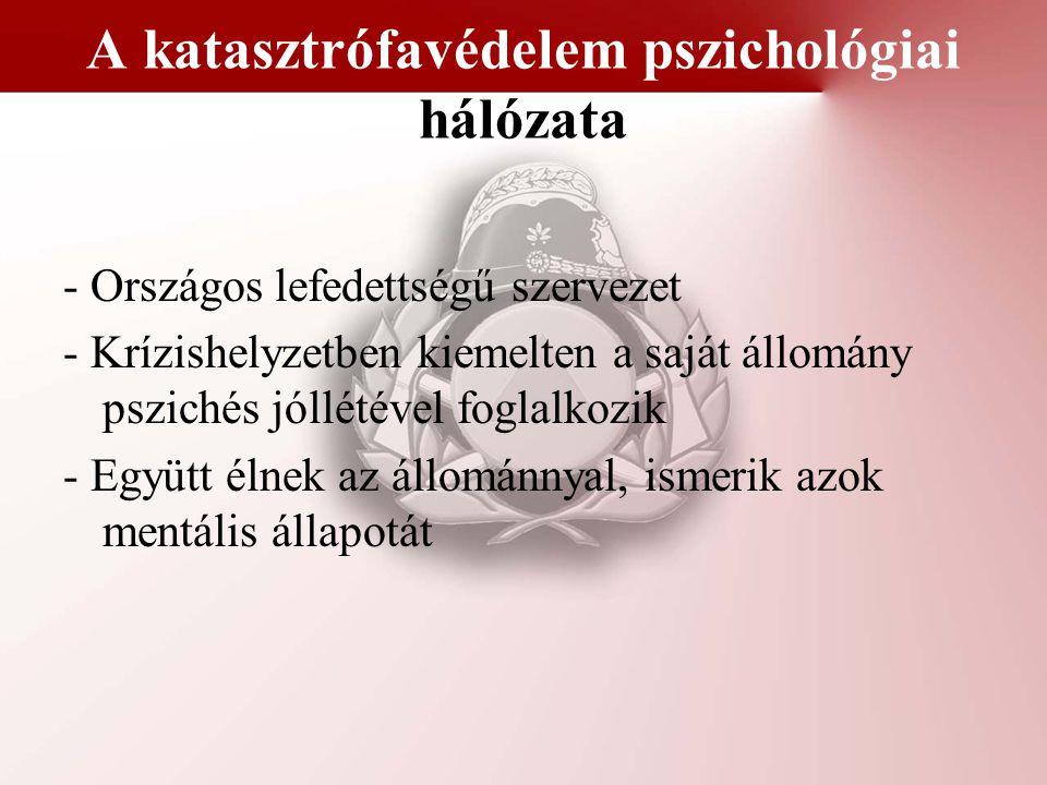 A katasztrófavédelem pszichológiai hálózata - Országos lefedettségű szervezet - Krízishelyzetben kiemelten a saját állomány pszichés jóllétével foglal