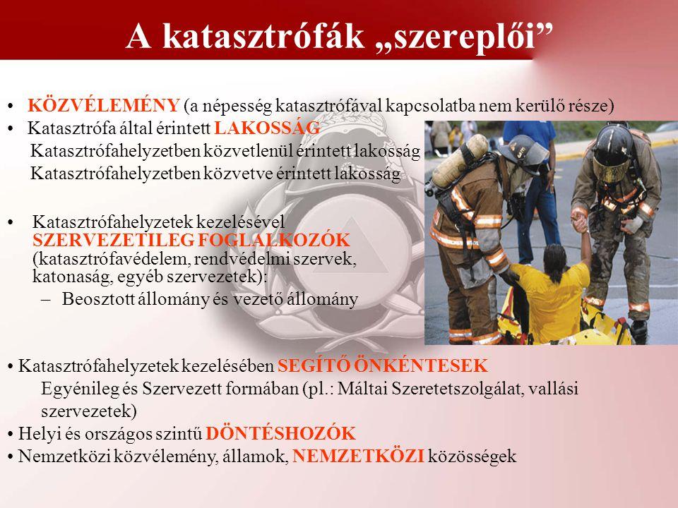 """A katasztrófák """"szereplői"""" Katasztrófahelyzetek kezelésével SZERVEZETILEG FOGLALKOZÓK (katasztrófavédelem, rendvédelmi szervek, katonaság, egyéb szerv"""