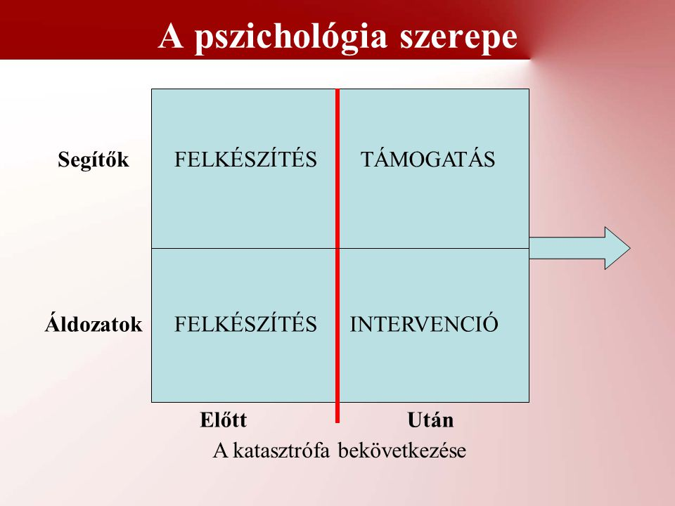 A pszichológia szerepe A katasztrófa bekövetkezése ElőttUtán Áldozatok Segítők FELKÉSZÍTÉS TÁMOGATÁS INTERVENCIÓ