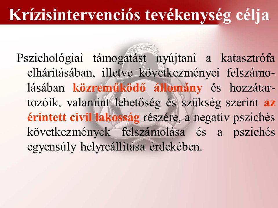 Krízisintervenciós feladatokat ellátó szervezetek Krízisintervenciós Csoport (KINCS) Katasztrófavédelem pszichológiai hálózata (és egészségügyi) P2P (peer-to-peer) hálózat Más segítő (Vöröskereszt, Magyar Máltai Szeretetszolgálat stb.) és önkéntes mentőszervezetek