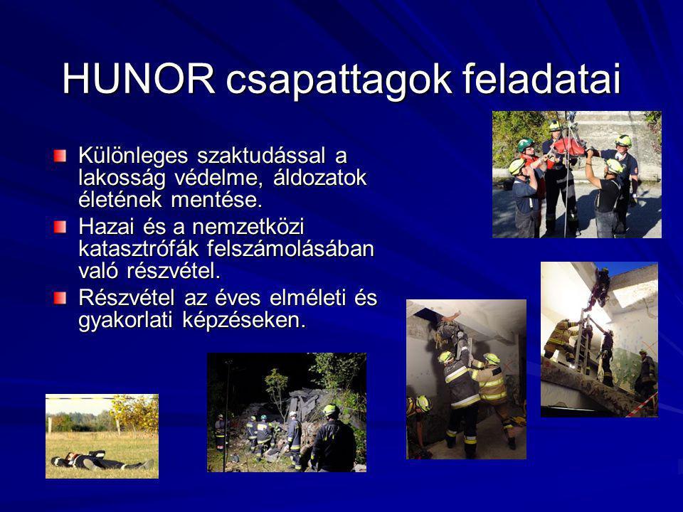 HUNOR csapattagok feladatai Különleges szaktudással a lakosság védelme, áldozatok életének mentése.