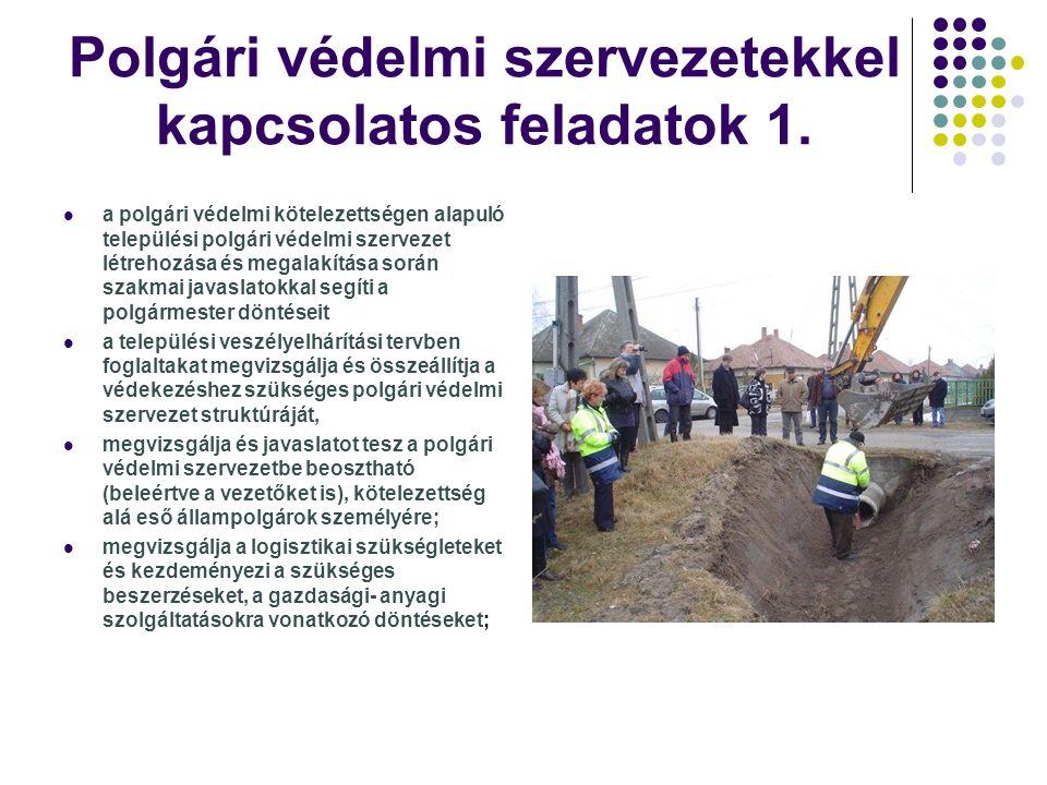 Polgári védelmi szervezetekkel kapcsolatos feladatok 1. a polgári védelmi kötelezettségen alapuló települési polgári védelmi szervezet létrehozása és
