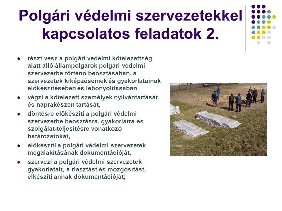 Polgári védelmi szervezetekkel kapcsolatos feladatok 2. részt vesz a polgári védelmi kötelezettség alatt álló állampolgárok polgári védelmi szervezetb