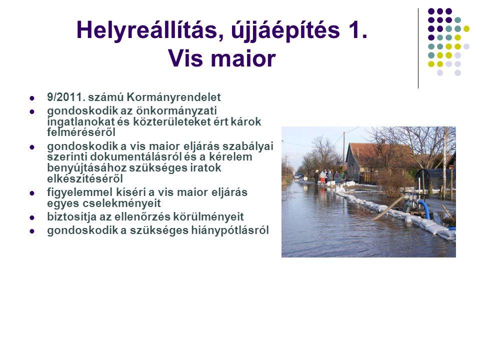 Helyreállítás, újjáépítés 1. Vis maior 9/2011. számú Kormányrendelet gondoskodik az önkormányzati ingatlanokat és közterületeket ért károk felmérésérő
