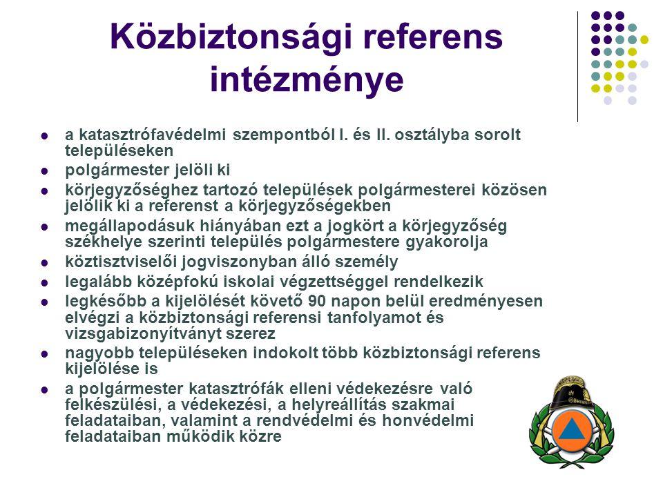 Közbiztonsági referens intézménye a katasztrófavédelmi szempontból I. és II. osztályba sorolt településeken polgármester jelöli ki körjegyzőséghez tar