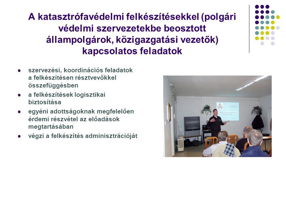 A katasztrófavédelmi felkészítésekkel (polgári védelmi szervezetekbe beosztott állampolgárok, közigazgatási vezetők) kapcsolatos feladatok szervezési,