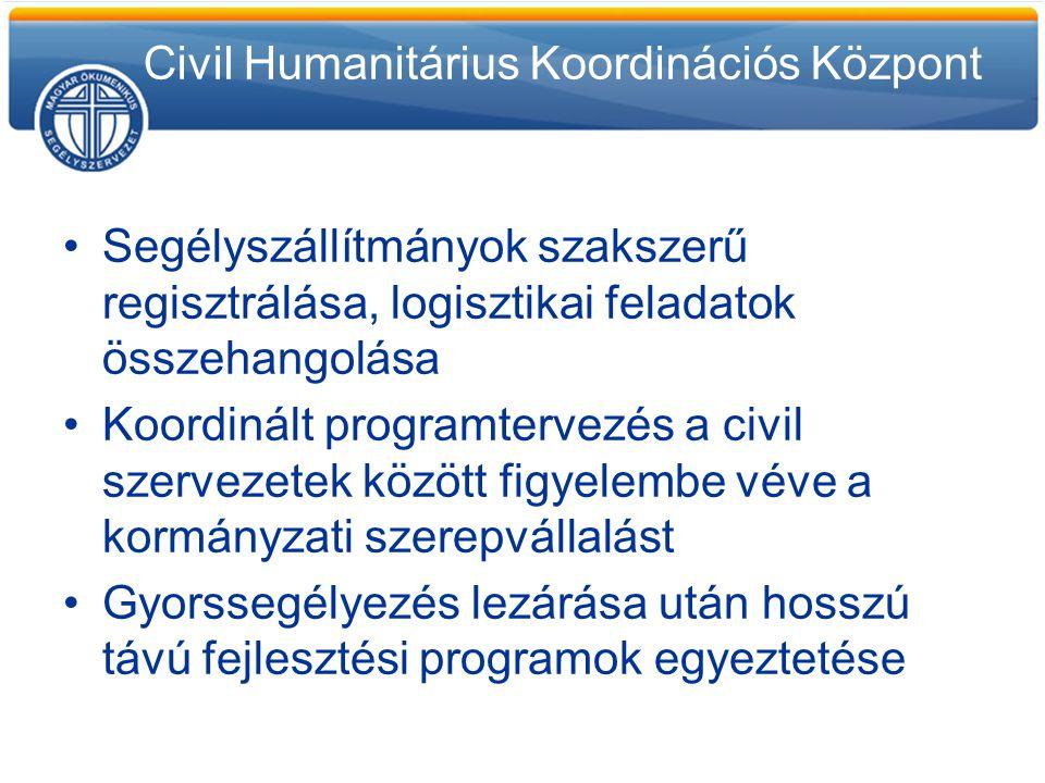 Segélyszállítmányok szakszerű regisztrálása, logisztikai feladatok összehangolása Koordinált programtervezés a civil szervezetek között figyelembe vév
