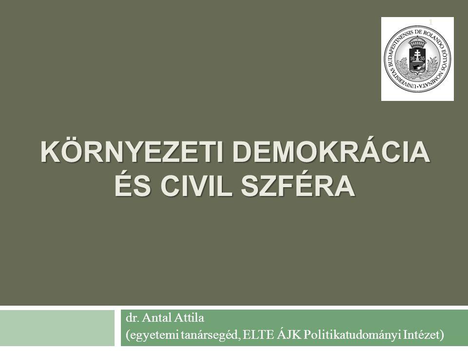 KÖRNYEZETI DEMOKRÁCIA ÉS CIVIL SZFÉRA dr.
