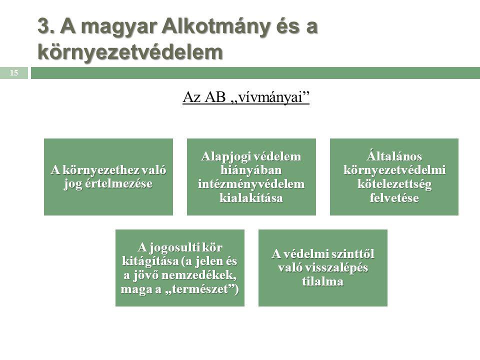 """3. A magyar Alkotmány és a környezetvédelem Az AB """"vívmányai"""" 15 A környezethez való jog értelmezése Alapjogi védelem hiányában intézményvédelem kiala"""