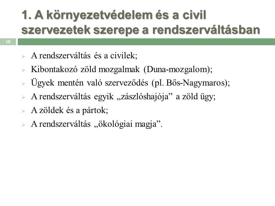 1. A környezetvédelem és a civil szervezetek szerepe a rendszerváltásban  A rendszerváltás és a civilek;  Kibontakozó zöld mozgalmak (Duna-mozgalom)