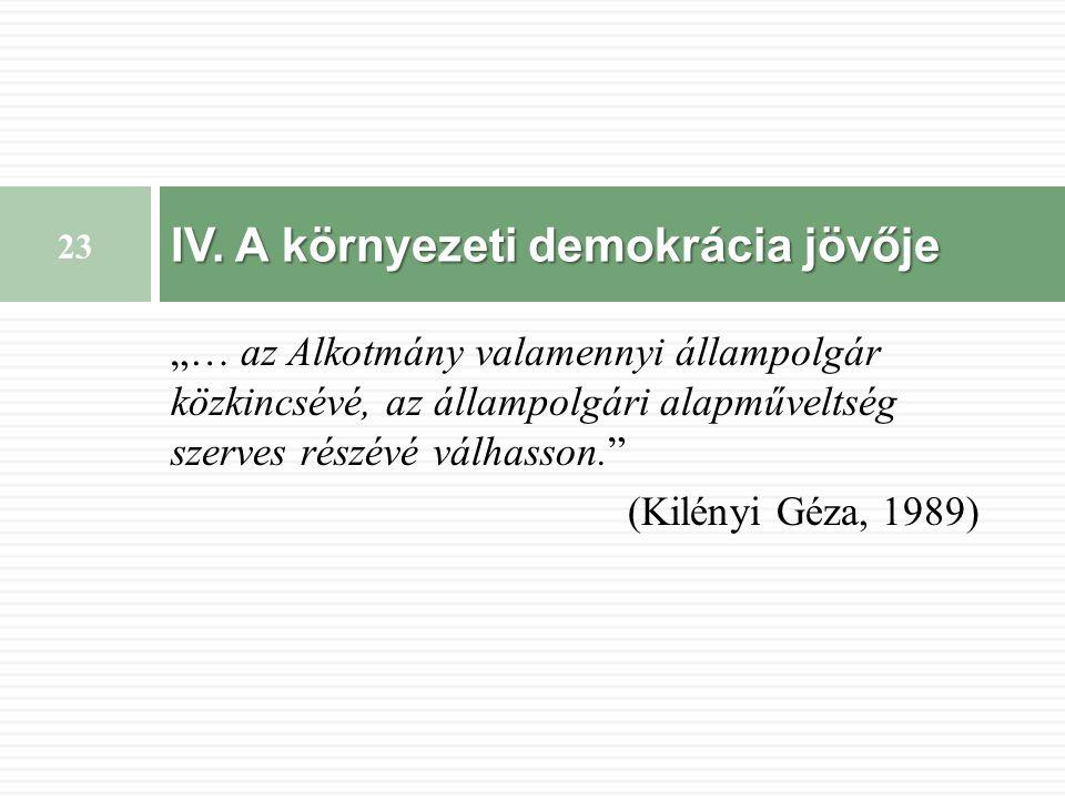 """""""… az Alkotmány valamennyi állampolgár közkincsévé, az állampolgári alapműveltség szerves részévé válhasson. (Kilényi Géza, 1989) IV."""