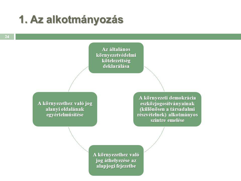 1. Az alkotmányozás 24 Az általános környezetvédelmi kötelezettség deklarálása A környezeti demokrácia eszközjogosítványainak (különösen a társadalmi