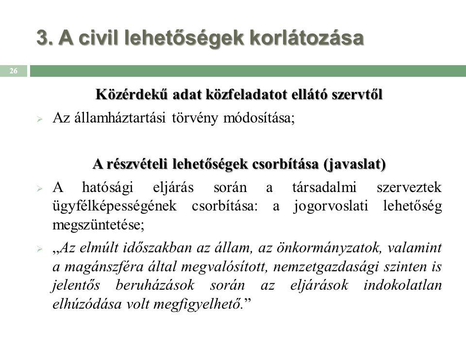 3. A civil lehetőségek korlátozása Közérdekű adat közfeladatot ellátó szervtől  Az államháztartási törvény módosítása; A részvételi lehetőségek csorb
