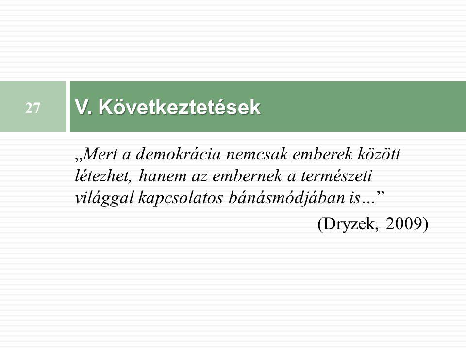 """""""Mert a demokrácia nemcsak emberek között létezhet, hanem az embernek a természeti világgal kapcsolatos bánásmódjában is… (Dryzek, 2009) V."""