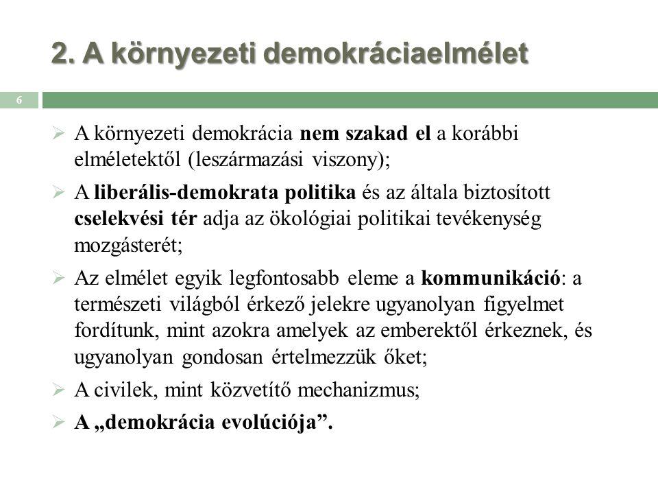 2. A környezeti demokráciaelmélet 6  A környezeti demokrácia nem szakad el a korábbi elméletektől (leszármazási viszony);  A liberális-demokrata pol
