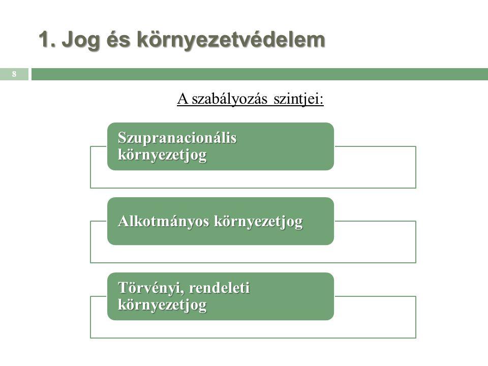 1. Jog és környezetvédelem A szabályozás szintjei: 8 Szupranacionális környezetjog Alkotmányos környezetjog Törvényi, rendeleti környezetjog