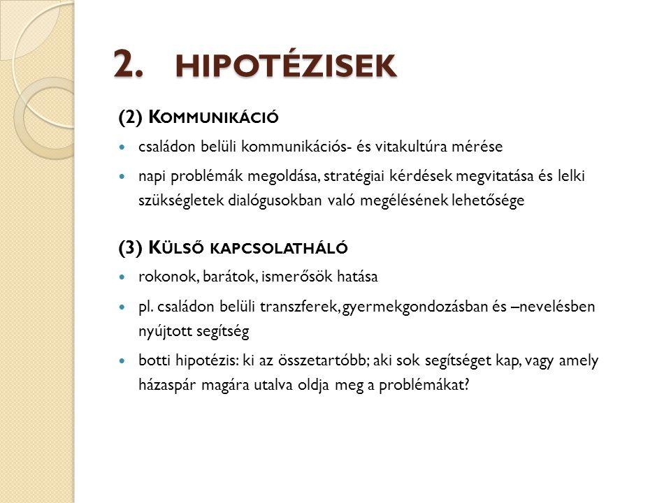 2. HIPOTÉZISEK (2) K OMMUNIKÁCIÓ családon belüli kommunikációs- és vitakultúra mérése napi problémák megoldása, stratégiai kérdések megvitatása és lel
