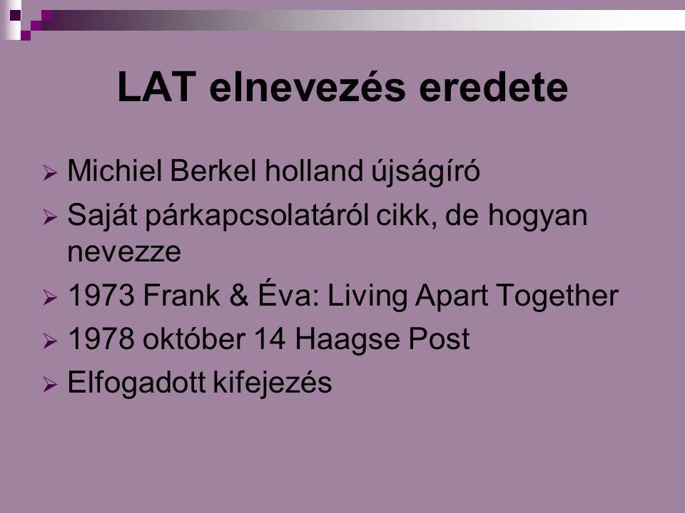 LAT elnevezés eredete  Michiel Berkel holland újságíró  Saját párkapcsolatáról cikk, de hogyan nevezze  1973 Frank & Éva: Living Apart Together  1978 október 14 Haagse Post  Elfogadott kifejezés