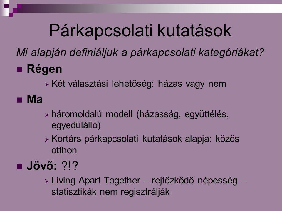 Párkapcsolati kutatások Mi alapján definiáljuk a párkapcsolati kategóriákat.