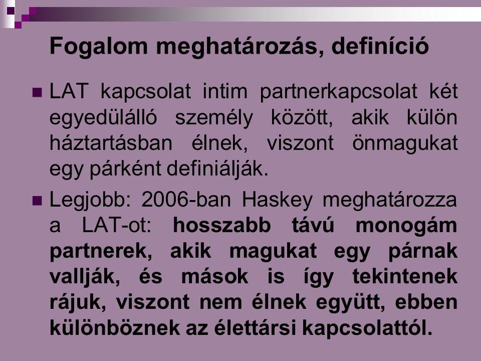 Fogalom meghatározás, definíció LAT kapcsolat intim partnerkapcsolat két egyedülálló személy között, akik külön háztartásban élnek, viszont önmagukat egy párként definiálják.