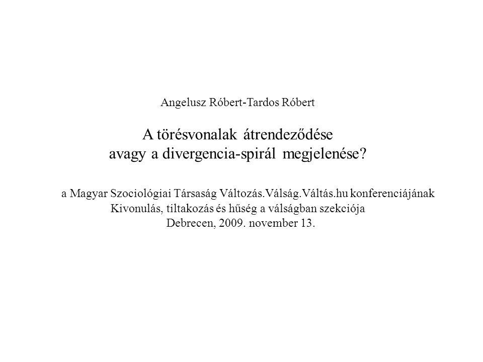 Angelusz Róbert-Tardos Róbert A törésvonalak átrendeződése avagy a divergencia-spirál megjelenése? a Magyar Szociológiai Társaság Változás.Válság.Vált