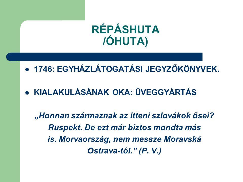 """RÉPÁSHUTA /ÓHUTA) 1746: EGYHÁZLÁTOGATÁSI JEGYZŐKÖNYVEK. KIALAKULÁSÁNAK OKA: ÜVEGGYÁRTÁS """"Honnan származnak az itteni szlovákok ősei? Ruspekt. De ezt m"""