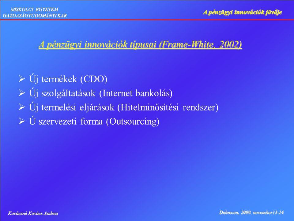 Kovácsné Kovács Andrea Debrecen, 2009. november13-14 A pénzügyi innovációk jövője MISKOLCI EGYETEM GAZDASÁGTUDOMÁNYI KAR A pénzügyi innovációk típusai