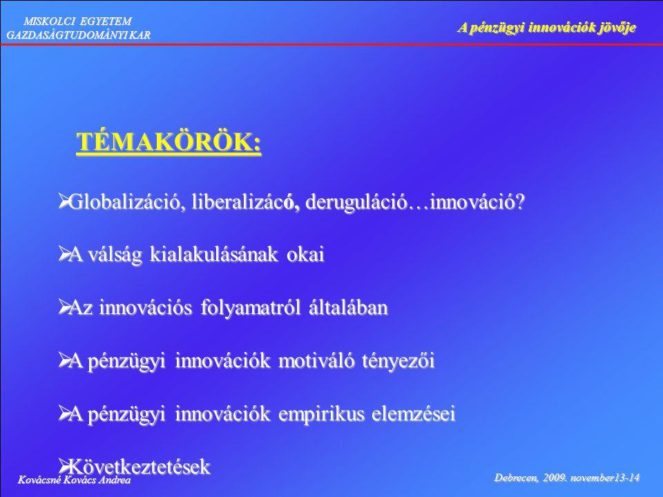 Kovácsné Kovács Andrea Debrecen, 2009. november13-14 A pénzügyi innovációk jövője MISKOLCI EGYETEM GAZDASÁGTUDOMÁNYI KAR TÉMAKÖRÖK: TÉMAKÖRÖK:  Globa