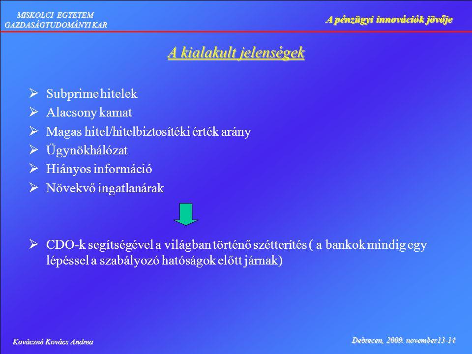 Kovácsné Kovács Andrea Debrecen, 2009. november13-14 A pénzügyi innovációk jövője MISKOLCI EGYETEM GAZDASÁGTUDOMÁNYI KAR A kialakult jelenségek  Subp
