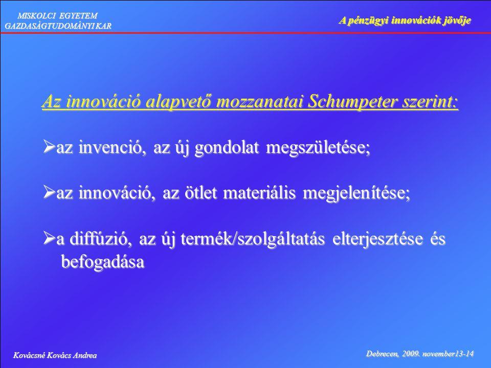 Kovácsné Kovács Andrea Debrecen, 2009. november13-14 A pénzügyi innovációk jövője MISKOLCI EGYETEM GAZDASÁGTUDOMÁNYI KAR Az innováció alapvető mozzana
