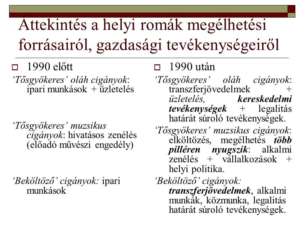 Áttekintés a helyi romák megélhetési forrásairól, gazdasági tevékenységeiről  1990 előtt 'Tősgyökeres' oláh cigányok: ipari munkások + üzletelés 'Tős