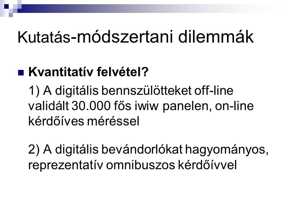 Kutatás -módszertani dilemmák Kvantitatív felvétel? 1) A digitális bennszülötteket off-line validált 30.000 fős iwiw panelen, on-line kérdőíves méréss