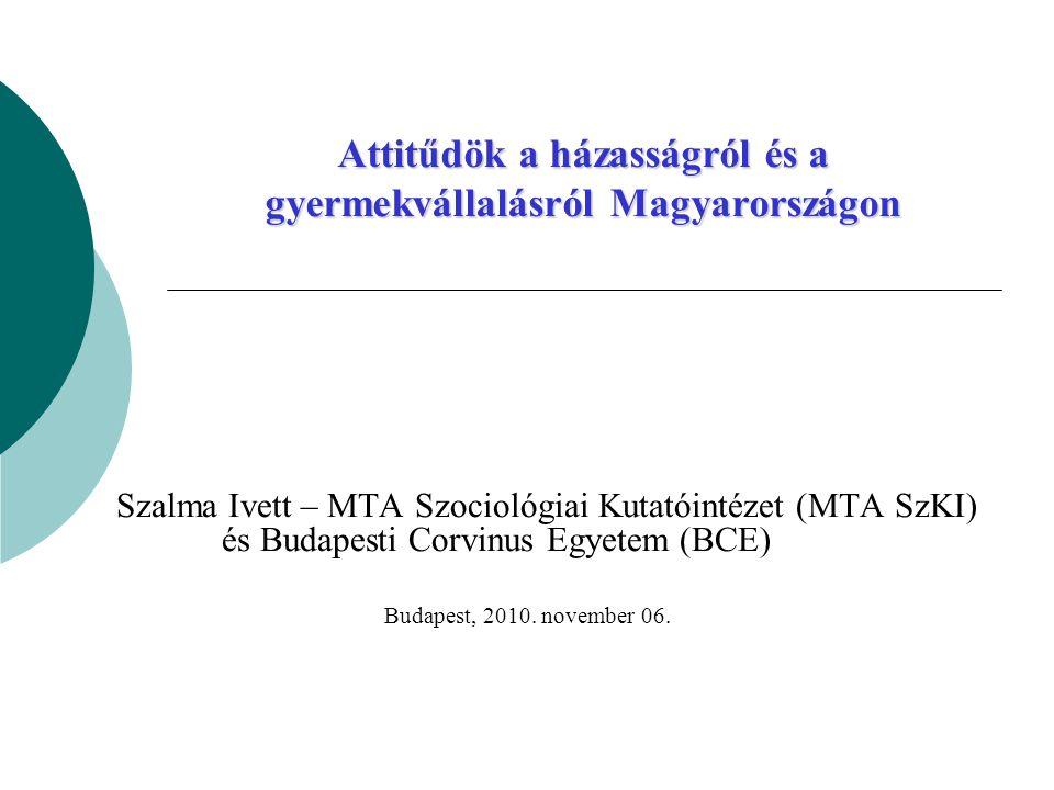 Attitűdök a házasságról és a gyermekvállalásról Magyarországon Szalma Ivett – MTA Szociológiai Kutatóintézet (MTA SzKI) és Budapesti Corvinus Egyetem