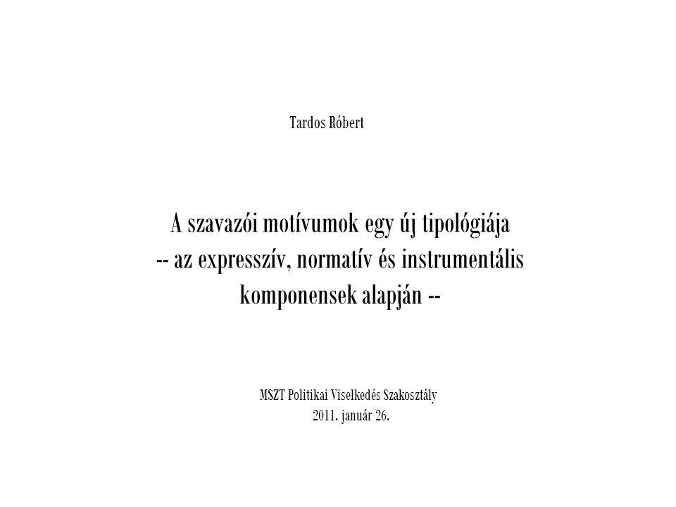 Tardos Róbert A szavazói motívumok egy új tipológiája -- az expresszív, normatív és instrumentális komponensek alapján -- MSZT Politikai Viselkedés Szakosztály 2011.