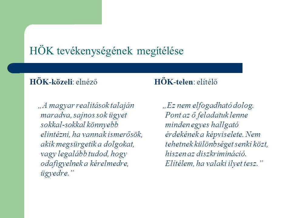 """HÖK tevékenységének megítélése HÖK-közeli: elnéző """"A magyar realitások talaján maradva, sajnos sok ügyet sokkal-sokkal könnyebb elintézni, ha vannak i"""