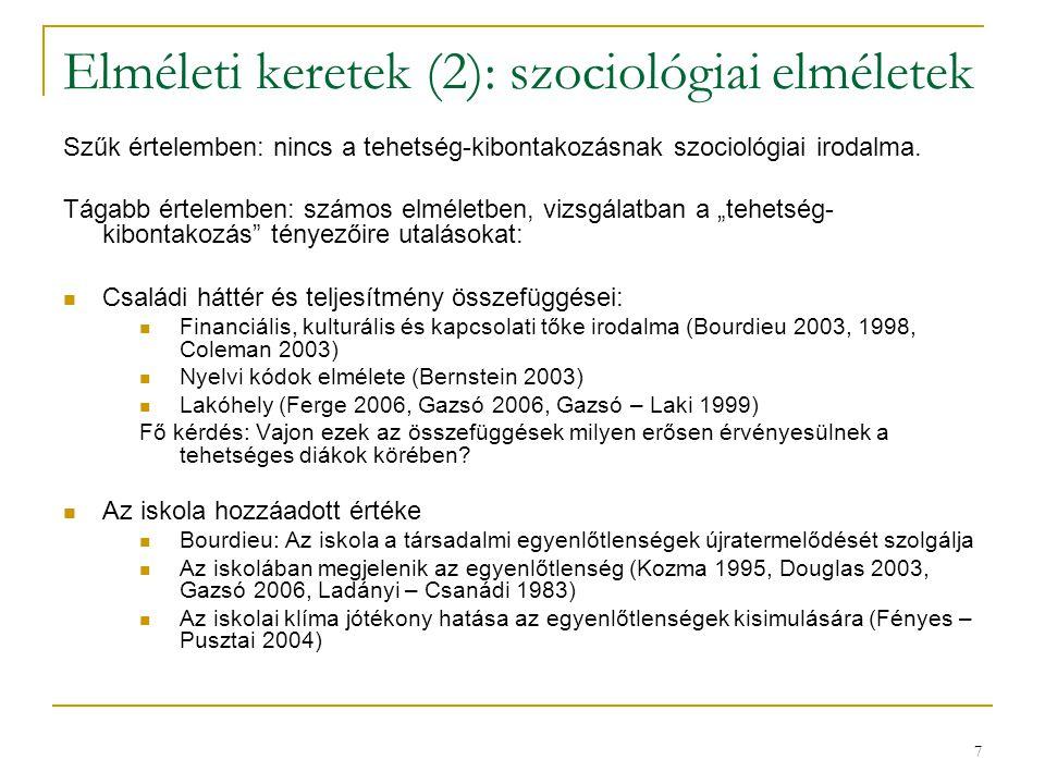 7 Elméleti keretek (2): szociológiai elméletek Szűk értelemben: nincs a tehetség-kibontakozásnak szociológiai irodalma.
