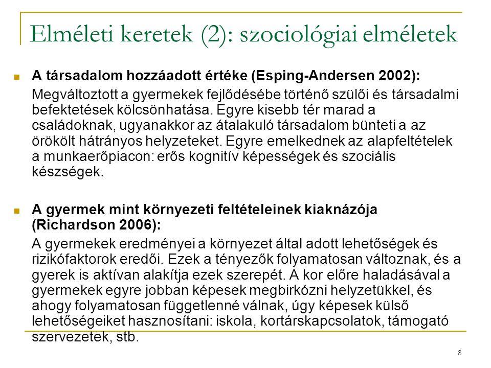 8 Elméleti keretek (2): szociológiai elméletek A társadalom hozzáadott értéke (Esping-Andersen 2002): Megváltoztott a gyermekek fejlődésébe történő szülői és társadalmi befektetések kölcsönhatása.