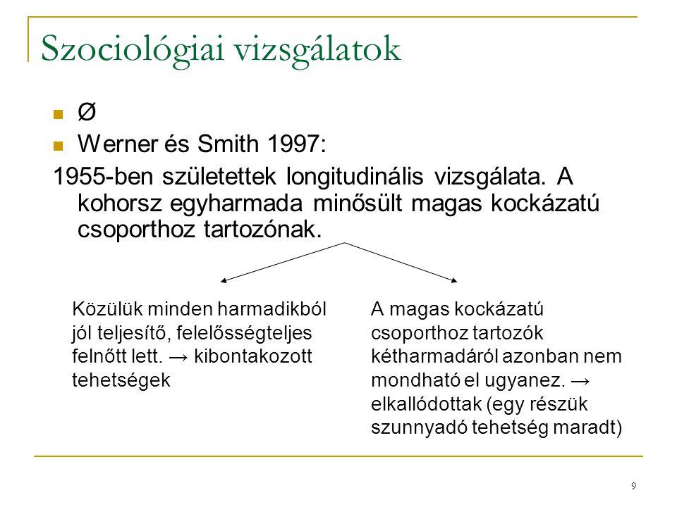 9 Szociológiai vizsgálatok Közülük minden harmadikból jól teljesítő, felelősségteljes felnőtt lett.