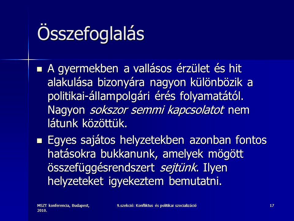 MSZT konferencia, Budapest, 2010. 9.szekció: Konfliktus és politikai szocializáció17 Összefoglalás A gyermekben a vallásos érzület és hit alakulása bi