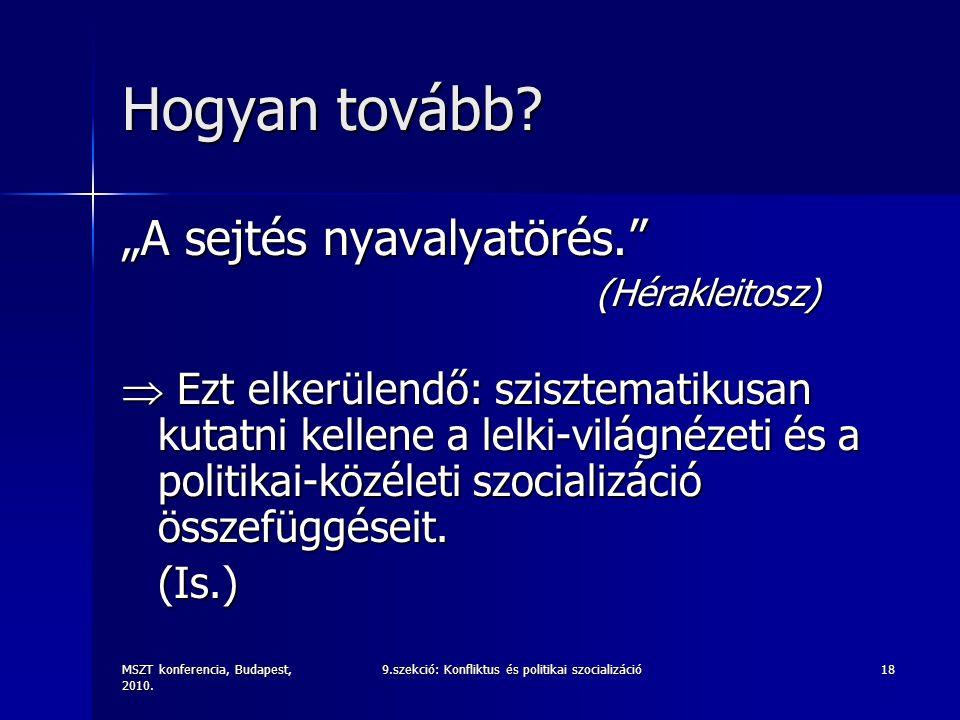 """MSZT konferencia, Budapest, 2010. 9.szekció: Konfliktus és politikai szocializáció18 Hogyan tovább? """"A sejtés nyavalyatörés."""" (Hérakleitosz) (Héraklei"""