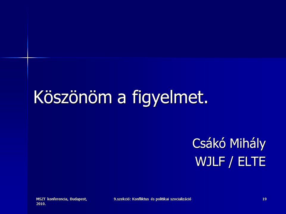 MSZT konferencia, Budapest, 2010. 9.szekció: Konfliktus és politikai szocializáció19 Köszönöm a figyelmet. Csákó Mihály WJLF / ELTE