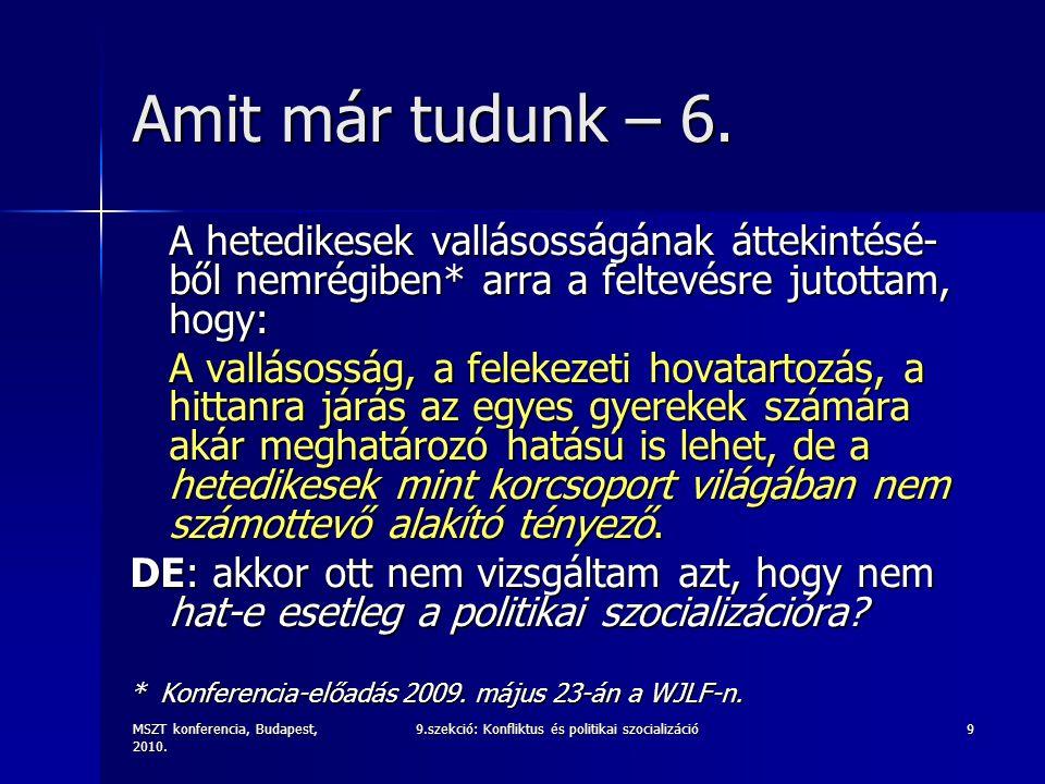MSZT konferencia, Budapest, 2010. 9.szekció: Konfliktus és politikai szocializáció9 Amit már tudunk – 6. A hetedikesek vallásosságának áttekintésé- bő