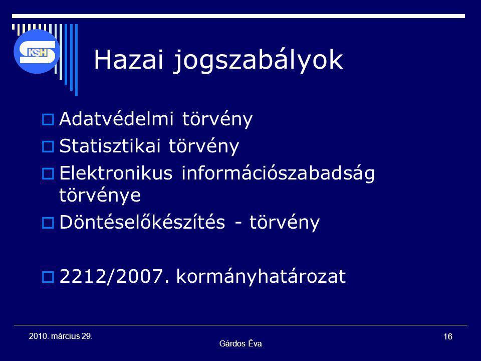 Gárdos Éva 16 2010. március 29. Hazai jogszabályok  Adatvédelmi törvény  Statisztikai törvény  Elektronikus információszabadság törvénye  Döntésel