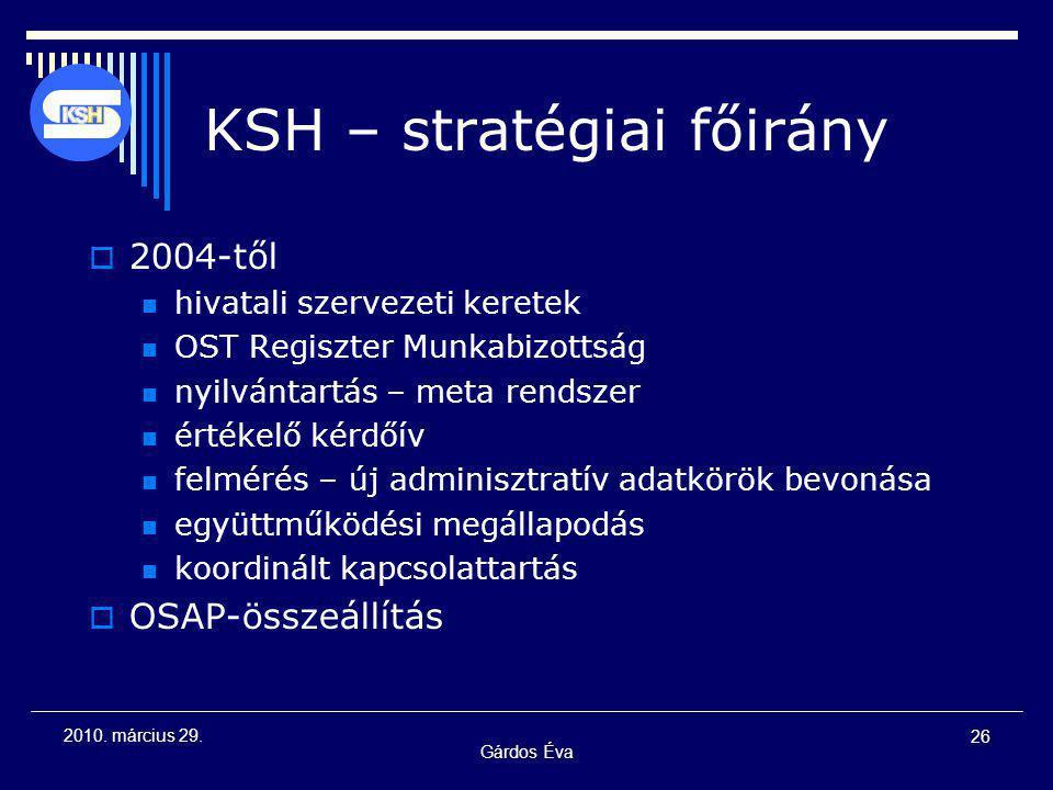 Gárdos Éva 26 2010. március 29. KSH – stratégiai főirány  2004-től hivatali szervezeti keretek OST Regiszter Munkabizottság nyilvántartás – meta rend
