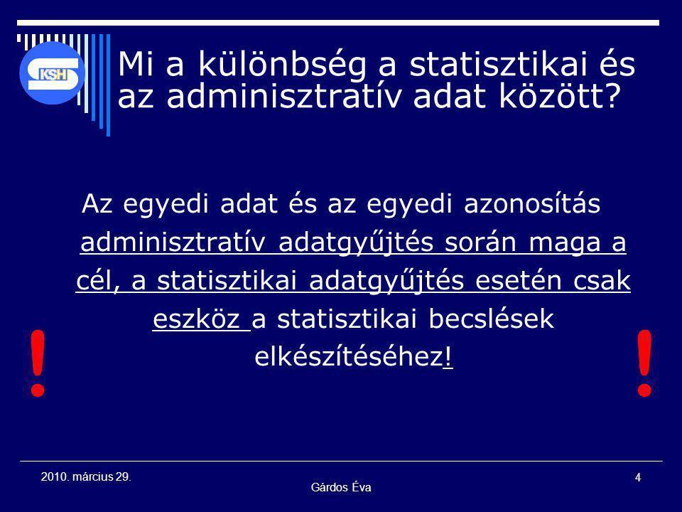 Gárdos Éva 4 2010. március 29. Mi a különbség a statisztikai és az adminisztratív adat között? Az egyedi adat és az egyedi azonosítás adminisztratív a