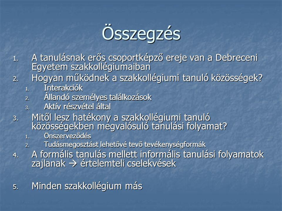 Összegzés 1. A tanulásnak erős csoportképző ereje van a Debreceni Egyetem szakkollégiumaiban 2. Hogyan működnek a szakkollégiumi tanuló közösségek? 1.