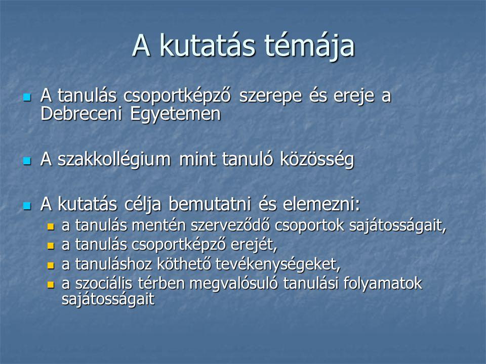 A kutatás témája A tanulás csoportképző szerepe és ereje a Debreceni Egyetemen A tanulás csoportképző szerepe és ereje a Debreceni Egyetemen A szakkol