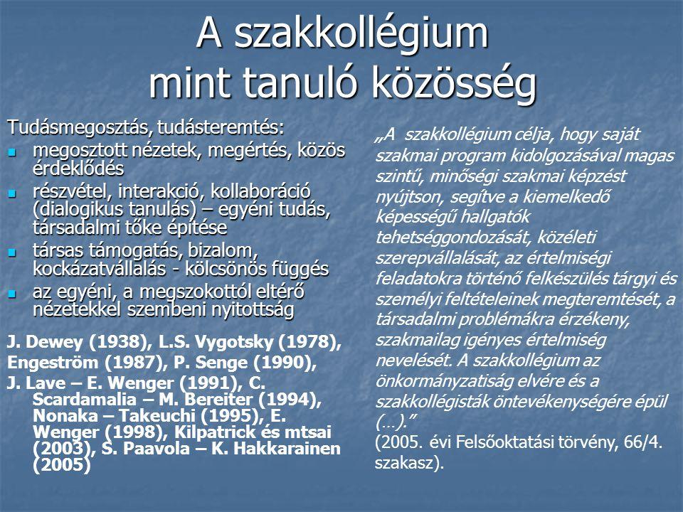 Összegzés 1.A tanulásnak erős csoportképző ereje van a Debreceni Egyetem szakkollégiumaiban 2.